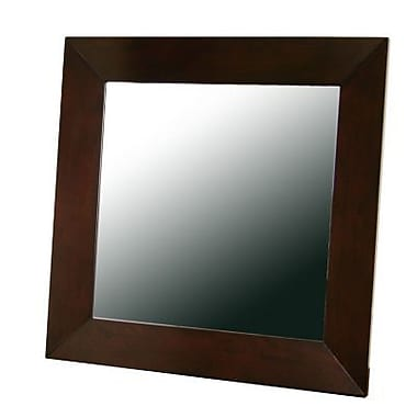 Baxton Studio Doniea Wood Frame Square Modern Mirror, Dark Brown