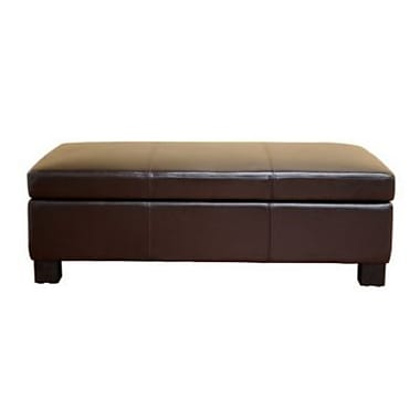 Baxton Studio Gallo Bonded Leather Large Flip Top Storage Ottoman, Dark Brown