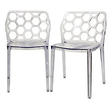 Baxton Studio Honeycomb Acrylic Modern Dining Chair, Transparent Clear