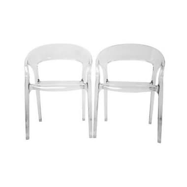 Baxton Studio Chloe Accent Chairs, Clear Glass, 2/Set (PC-510-Clear)