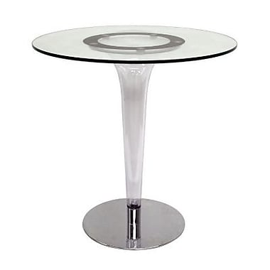 Baxton Studio Simi 28 1/2in. x 27 1/2in. Modern Glass Bistro Table, Clear