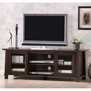 Baxton Studio Havana Modern TV Stand With Glass Doors, Dark Brown