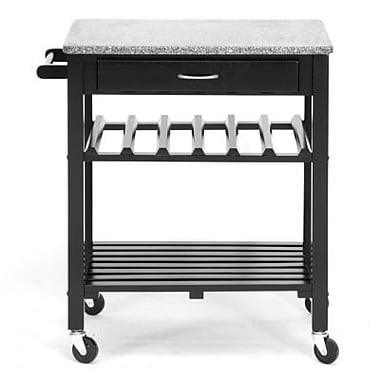 Baxton Studio Quebec Wheeled Modern Kitchen Cart with Granite Top, Black