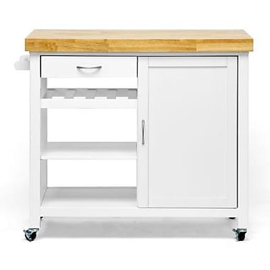 Baxton Studio Denver Modern Kitchen Cart, White/Natural