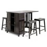Baxton Studio Aurora Modern Pub Table Set With Cabinet Base, Black