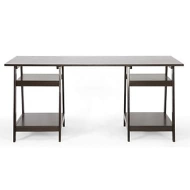 Baxton Studio Mott Wood Large Modern Desk, Dark Brown