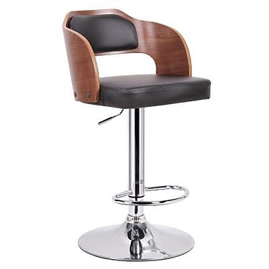 Baxton Studio Sitka Faux Leather Bar Stool, Walnut/Black