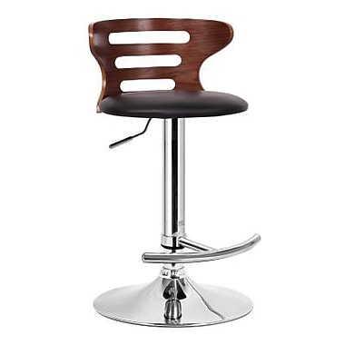 Baxton Studio Buell Faux Leather Bar Stool, Walnut/Black