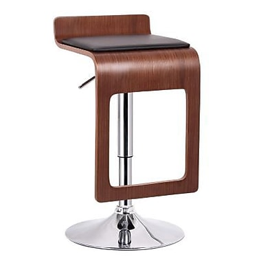 Baxton Studio Murl Faux Leather Bar Stool, Walnut/Black