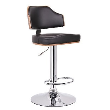 Baxton Studio Cabell Faux Leather Bar Stool, Walnut/Black