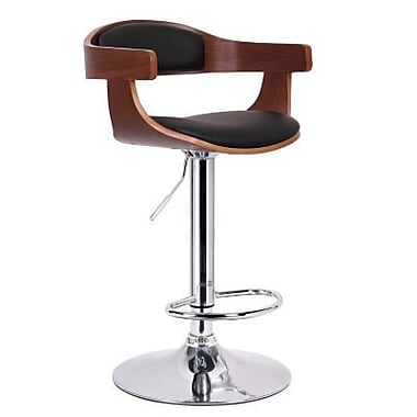 Baxton Studio Garr Faux Leather Bar Stool, Walnut/Black