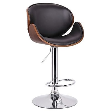 Baxton Studio Crocus Faux Leather Bar Stool, Walnut/Black