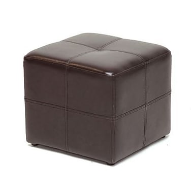 Baxton Studio Nox Bonded Leather Cube Ottoman, Dark Brown