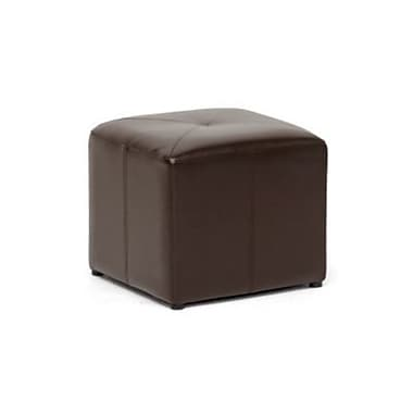 Baxton Studio Aric Leather Cube Ottoman, Brown