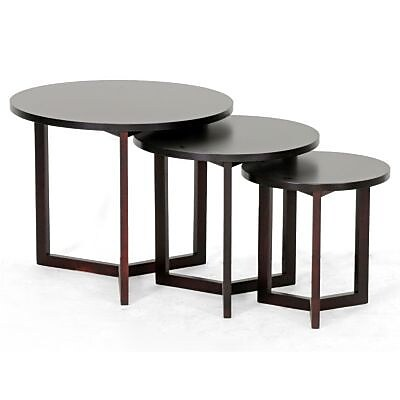 Baxton Studio Hess Modern Nesting Table, Dark Brown 70068