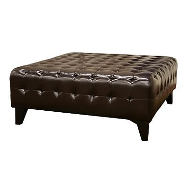 Baxton Studio Pemberly Bonded Leather Square Ottoman, Dark Brown