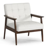 Baxton Studio Stratham Faux Leather Mid-Century Modern Club Chair, White