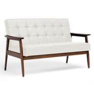Baxton Studio Stratham Faux Leather Mid-Century Modern Sofa, White