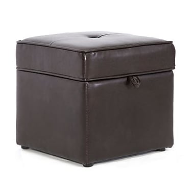 Baxton Studio Sydney Leather Storage Cube Ottoman, Dark Brown