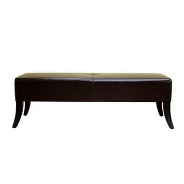 Baxton Studio Danilo Bonded Leather Bench Ottoman, Dark Brown