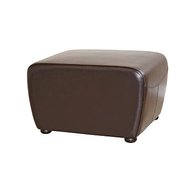 Baxton Studio Mendozza Bi-cast Leather Ottoman, Dark Brown