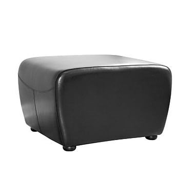 Baxton Studio Mendozza Bi-cast Leather Ottoman, Black