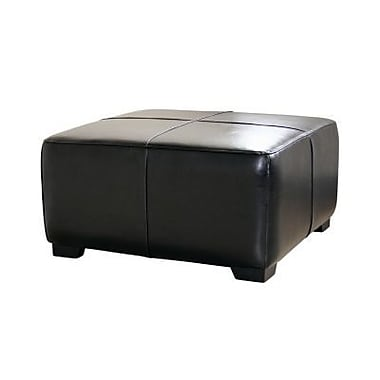 Baxton Studio Belmont Leather Large Square Cocktail Ottoman, Black