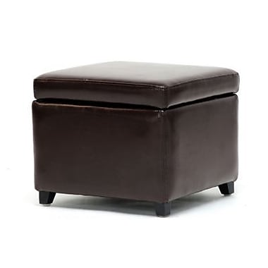 Baxton Studio Linden Leather Small Storage Cube Ottoman, Dark Brown