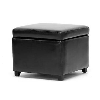 Baxton Studio Linden Leather Small Storage Cube Ottoman, Black