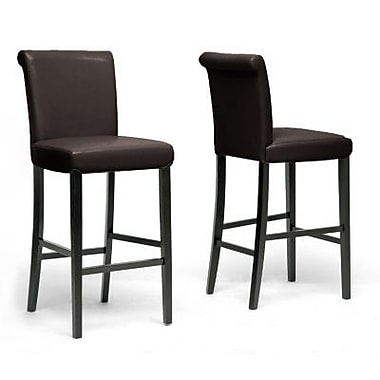 Baxton Studio Bianca Faux Leather Bar Stool, Dark Brown
