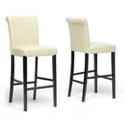 Baxton Studio Bianca Faux Leather Bar Stool, Cream