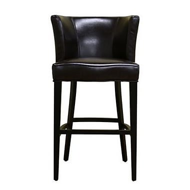 Baxton Studio Cleto Full Leather Bar Stool, Dark Brown