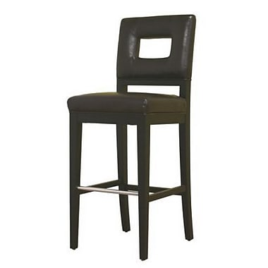 Baxton Studio Faustino Leather Bar Stool, Dark Brown