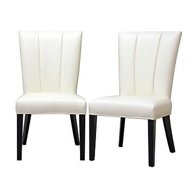 Baxton Studio Janvier Leather Modern Dining Chair, Off-White