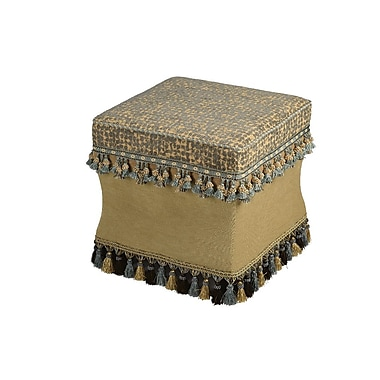 Powell® Bombay Barcelona Polyester Fabric Ottoman, Blue/Beige