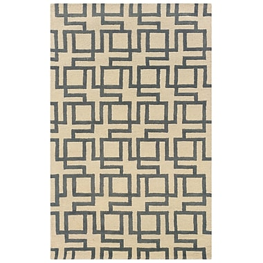 Powell® Bombay Channel 2' x 3' Interlocking Geometric Hand Tufted Rug, Ivory