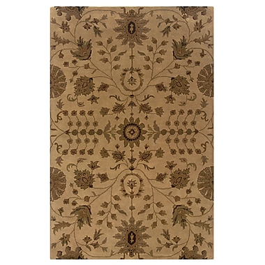 Powell® Bombay Bali 2' x 3' Traditional Hand Tufted Rug, Sand/Rust