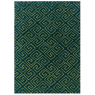 Powell® Bombay Fret 2' x 3' Greek Key Hand Tufted Rug, Navy