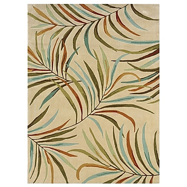 Powell® Bombay Lanai 5' x 8' Tropical Leaves Hand Tufted Rug, Ivory
