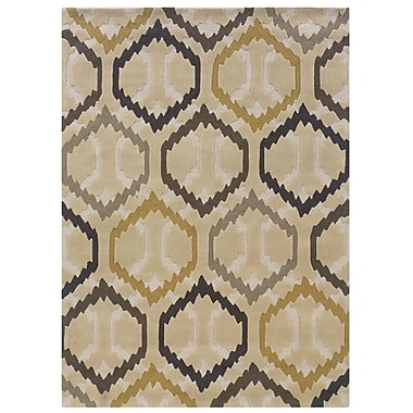 Powell® Bombay Comb 8' x 11' Ikat Hand Tufted Rug, Ivory