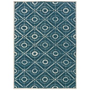 Powell® Bombay Contort 5' x 8' Modern and Trendy Hand Tufted Rug, Teal