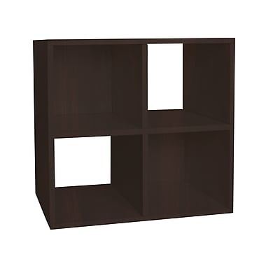 Way Basics zBoard Eco Friendly Quad Cubby Organizer Bookcases, Espresso