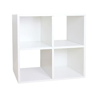 Way Basics zBoard Eco Friendly Quad Cubby Organizer Bookcases, White