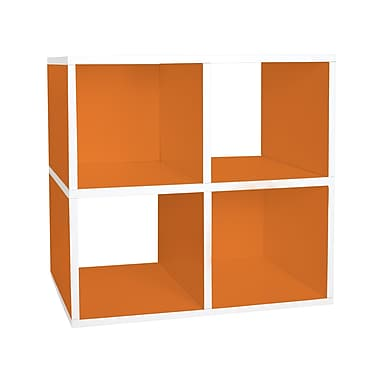 Way Basics zBoard Eco Friendly Quad Cubby Organizer Bookcases, Orange