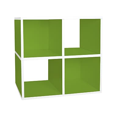 Way Basics zBoard Eco Friendly Quad Cubby Organizer Bookcases, Green