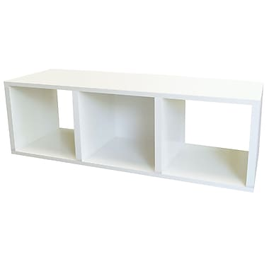 Way Basics zBoard Eco Friendly 3 Cubby Stackable Storage Benches, White