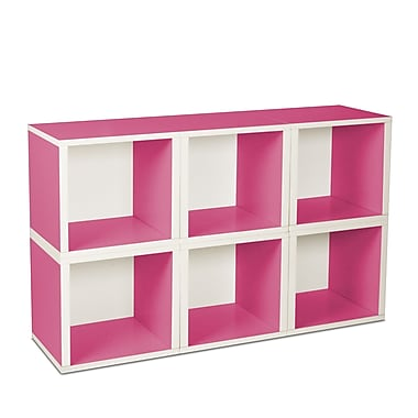 Way Basics zBoard Eco Friendly 6 Modular Storage Cubes, Pink