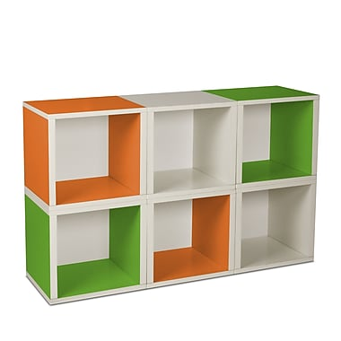 Way Basics Eco-Friendly 6 Stackable Modular Storage Cubes, White Green Orange - Lifetime Warranty