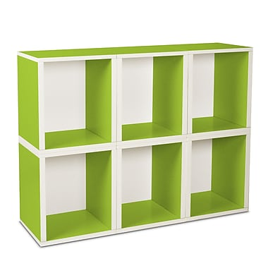 Way Basics zBoard Eco Friendly 6 Modular Cubes Plus Storage Cubes Plus, Green