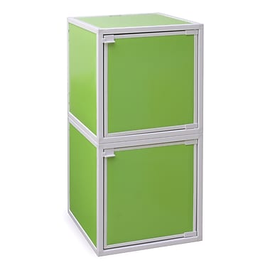 Way Basics Eco Friendly Stackable 2 Box Storage Cubes, Green